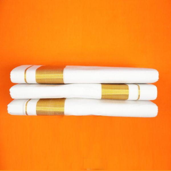 White Dhoti Jari 2 inches Pack of 3
