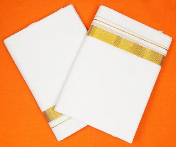 Jaragari White Dhoti pack of 2 premium vip